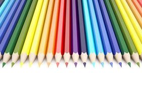 3d Rendering of color pencils on white background photo