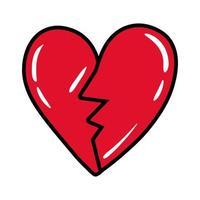 heart broken pop art flat style vector