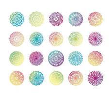 Paquete de veinte mandalas coloridos set iconos de colección vector