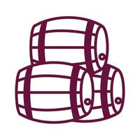 pile of wine wooden barrels line style icon vector