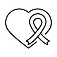 corazón, amor, cinta, día de los derechos humanos, línea, icono, diseño vector