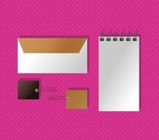mockup paper envelope and notebook with tags gradient style vector