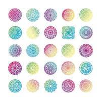 paquete de veinticinco mandalas coloridos establecer iconos vector