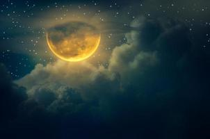 chuseok moon Cloud Big moon floating in the sky with many stars surrounded Halloween photo