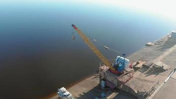 boat station or mooring for boats aerial filming from the drone video