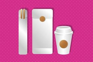 mockup paper envelope and chopstick with cup gradient style vector
