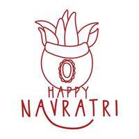Feliz celebración navratri con planta en maceta de cerámica estilo de línea decorativa vector