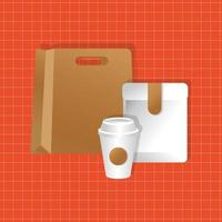 mockup paper bag and envelope with cup gradient style vector