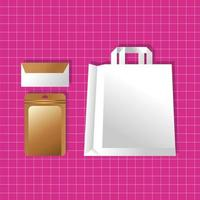 mockup paper bag and envelopes packaging gradient style vector