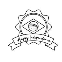 happy independence day brazil card with flag and ribbon frame line style vector