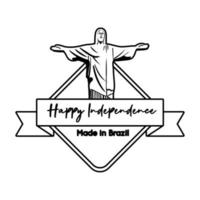 happy independence day brazil card with corcovade christ line style vector