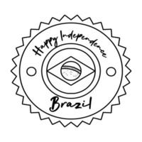 happy independence day brazil card with flag seal line style vector