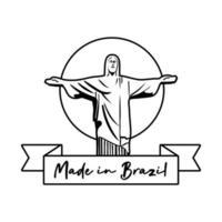 hecho en brasil estandarte con corcovade cristo vector