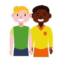 young interracial men avatars characters icon vector