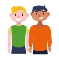young men avatars characters icon vector