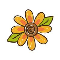 sunflower plant hand draw style icon vector