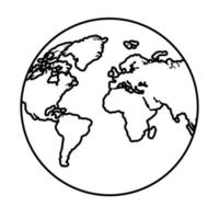 world planet earth maps silhouette line style icon vector