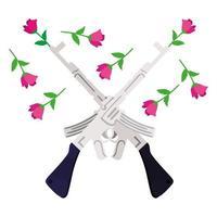 rifles armas con flores rosas vector