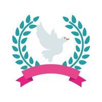 paloma pájaro volando en corona corona vector
