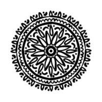 mandala floral ethnicity monochrome isolated icon vector