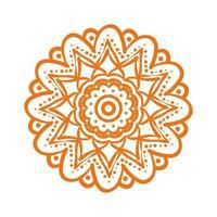 orange mandala floral ethnicity isolated icon vector