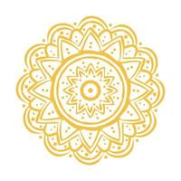 yellow mandala floral ethnicity isolated icon vector