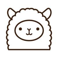 cute little llama kawaii animal line style vector