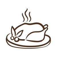 dish with delicious turkey thanksgiving food line style icon vector
