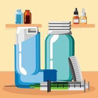 inhalador de asma de medicina vector