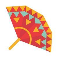 colored fan accessory decoration ornament flat icon vector
