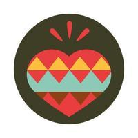 decoración mexicana corazón bloque festivo popular e icono plano vector