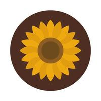 sunflower petals decoration nature block and flat icon vector