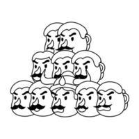 ravana with ten heads character line style icon vector