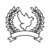 pájaro paloma volando en corona icono de estilo de línea de corona vector