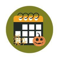 happy halloween calendar pumpkin cobweb trick or treat party celebration flat and block icon vector