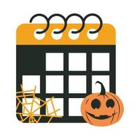 happy halloween calendar pumpkin cobweb trick or treat party celebration flat icon design vector