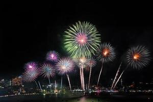 Festive beautiful colorful fireworks display photo