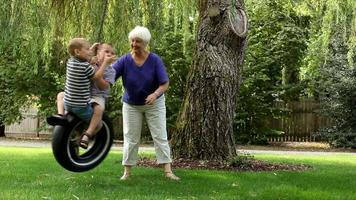 Woman pushing grandchildren on swing video