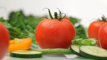 Fresh vegetables and salad ingredients video