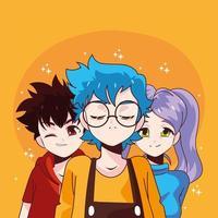 manga boys and girl vector