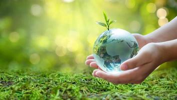 A man with a glass globe Concept day earth Save the world save environment The world is in the grass of the green bokeh background photo