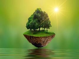 islas flotantes con árboles lago río en el cielo día mundial del medio ambiente día mundial de la conservación medio ambiente foto