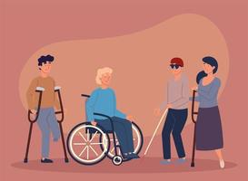 disabled group people vector