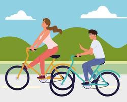 pareja en bicicleta vector
