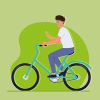 joven en bicicleta vector