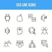 Unique SEO Line icon set vector