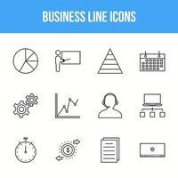 Unique Business Line icon set vector