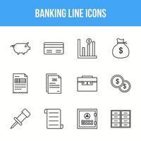 Unique Banking Line icon set vector
