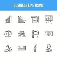 conjunto de iconos de línea de negocio único vector