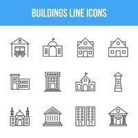 Unique Buildings Line icon set vector